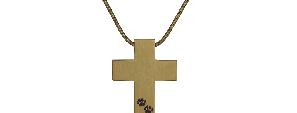Cross Necklace with Paw Prints
