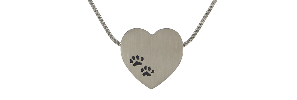 Pewter Heart Pawprint Pendant