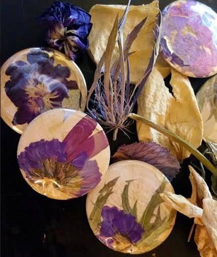 dried flower pinbacks from an anniversary boquet