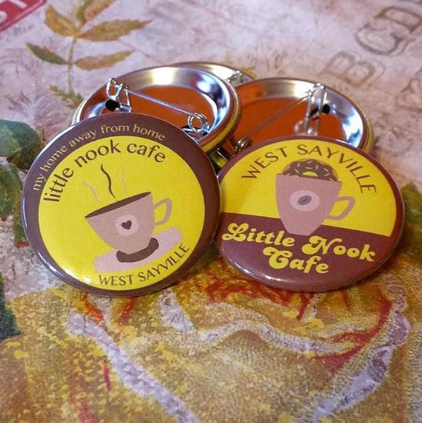little nook cafe custom design request for pinback buttons
