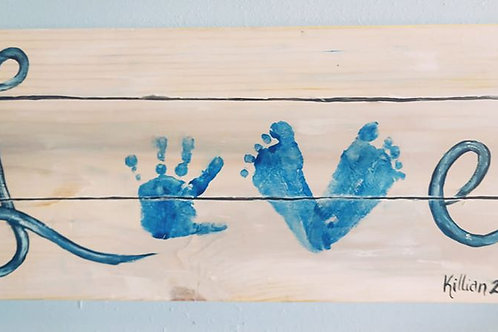 "Handprint and Footprint ""Love"" wood sign"