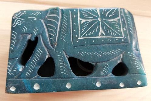 Boîte bleue éléphant en stéatite
