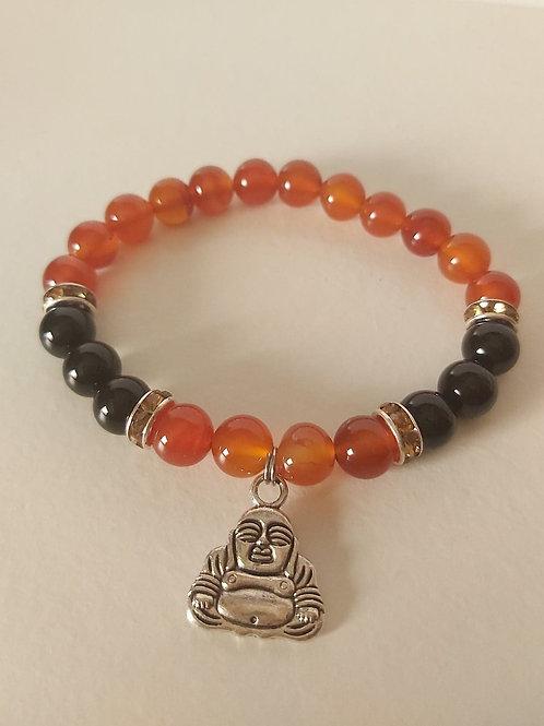 Bracelet en Cornaline et Onyx noir avec pendentif Bouddha