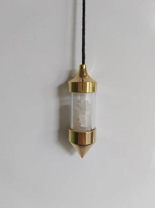 Pendule avec cristaux de Quartz rose