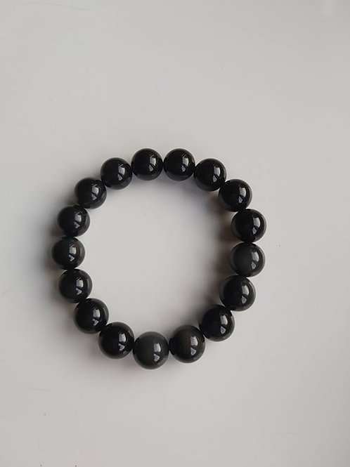 Bracelet Obsidienne Oeil Céleste - Diamètre 12mm
