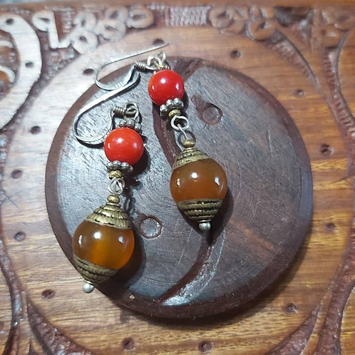 Boucles d'oreilles Cornaline/Corail