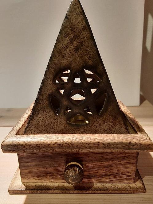 Porte-encens en bois avec pentacle