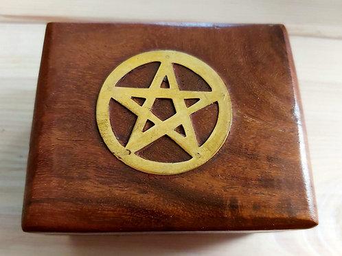 Boîte à pendule en bois avec pentacle