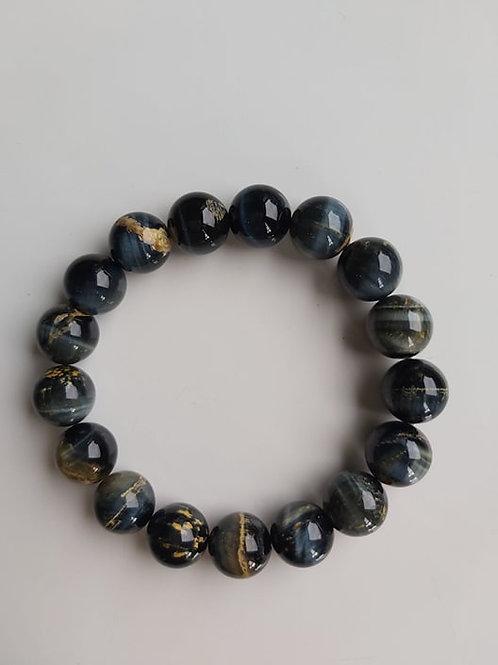 Bracelet Oeil-de-tigre bleu - Diamètre : 10 mm