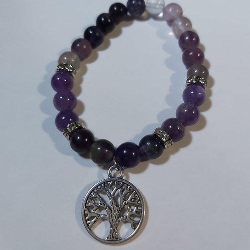 Bracelet améthyste et fluorite et arbre de vie