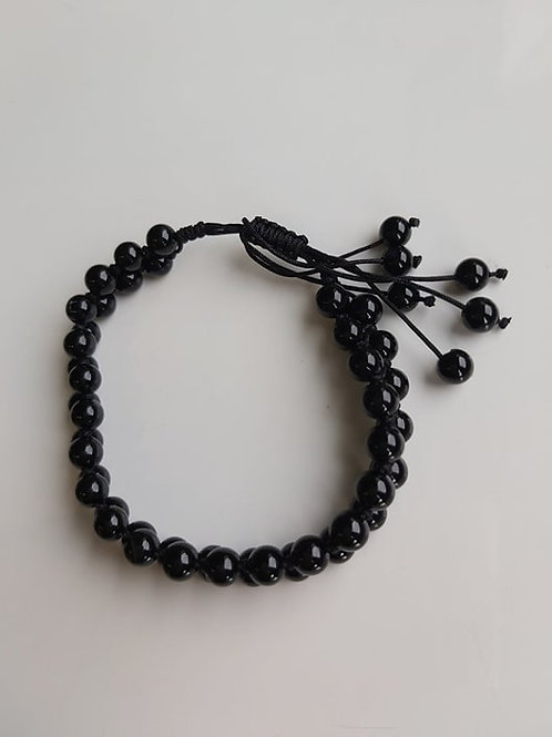 Bracelet Mala en Agate noire - Diamètre 6 mm