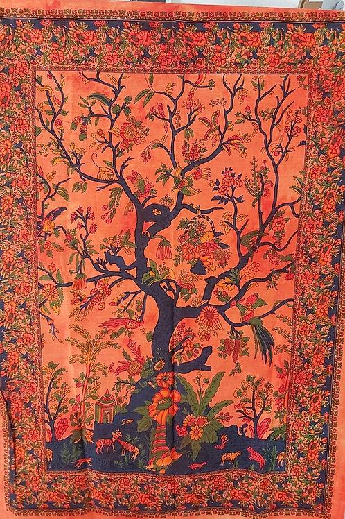 Tissu orange motifs arbre et fleurs