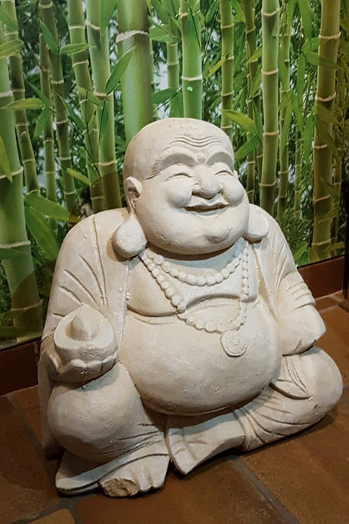 Statue en pierre Bouddha rieur