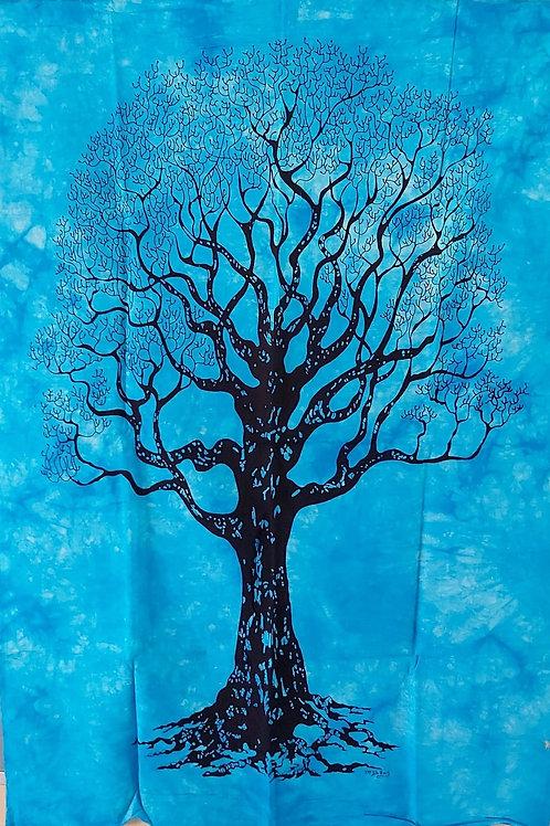 Tissu bleu avec Arbre de Vie