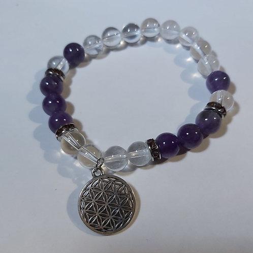 Bracelet améthyste et cristal de roche et fleur de vie