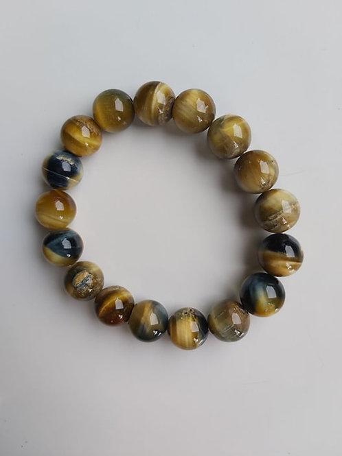 Bracelet Oeil-de-Tigre jaune - Diamètre : 12 mm