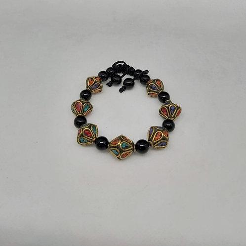 Bracelet Mala en Turquoise, Corail & Agate noire