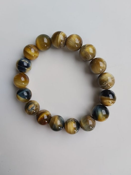 Bracelet en Oeil-de-tigre jaune Diamètre 10 mm
