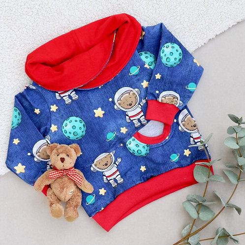 Sweatshirt mit Wickelkragen blau / rot Astronautenbär