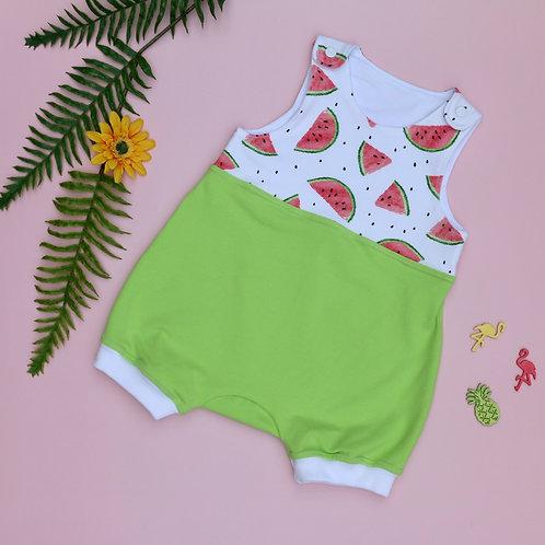 Kurzer Strampler hellgrün / weiß mit Wassermelonen