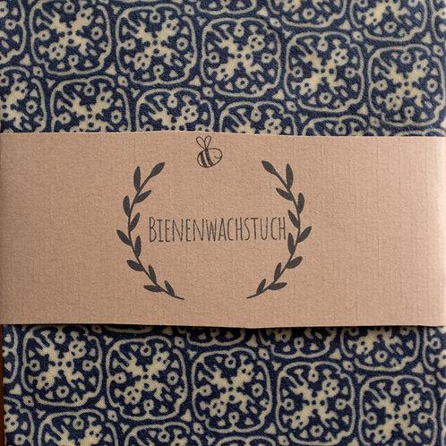 Bienenwachstuch - blaues Ornament - 32 x 32 cm