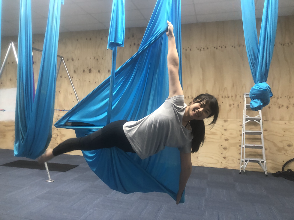 Aerial Yoga Studio Head Image with someone in an Aerial Yoga swing