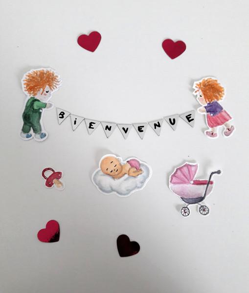 Eléments de décoration - Faire-part naissance Fille