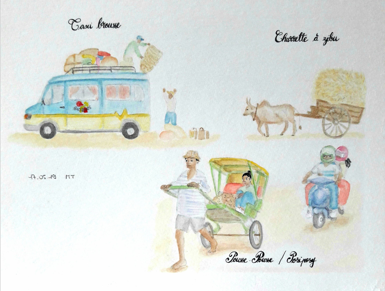 Taxi brousse, charrette et pousse-pousse