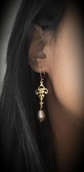 Boucles d'oreilles Filigrane & perle