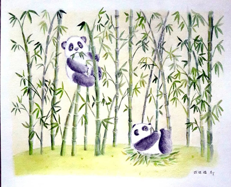 Pandas playing in a Bamboo Forest