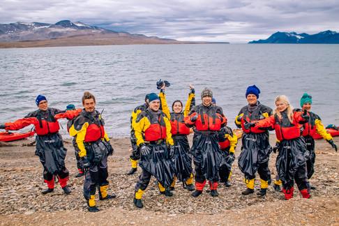 Kayakers in Barentsburg