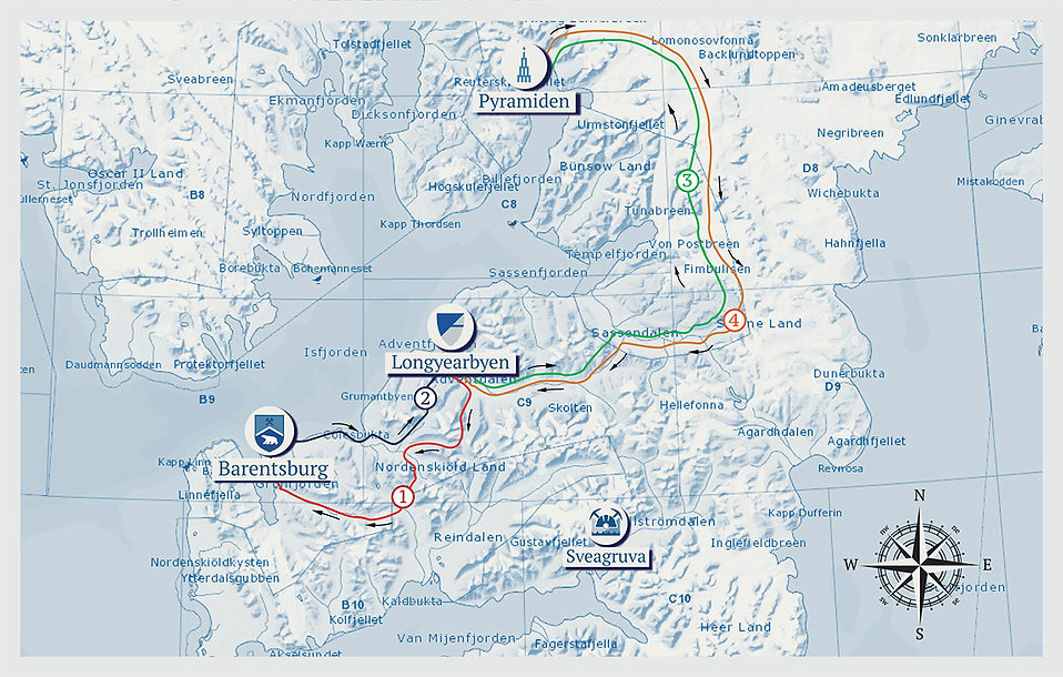 Glimpse of Svalbard, map of the tour