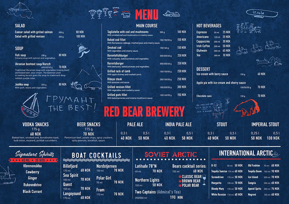 Menu of the Red Bear Pub & Brewery