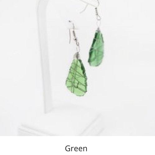 Tumbled Glass Earrings - Green