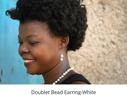 Doublet Bead Earrings - White
