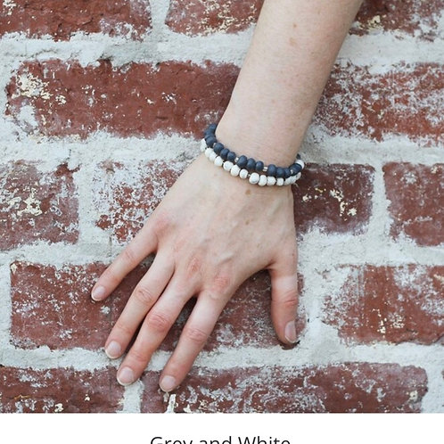 Slip on Stackable Bracelet Set - grey / white
