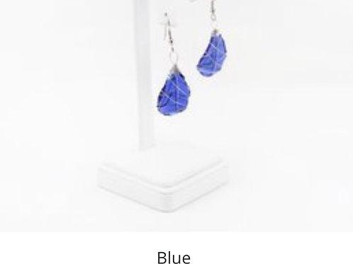 Tumbled Glass Earrings - Blue