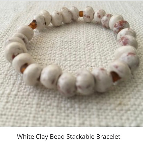 White Clay Stackable Bracelet
