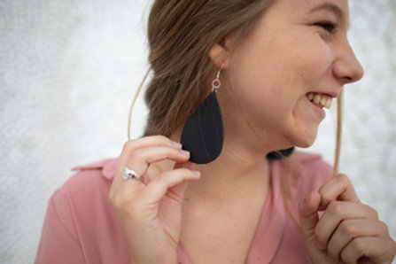 Black Leather Tear Drop Earrings