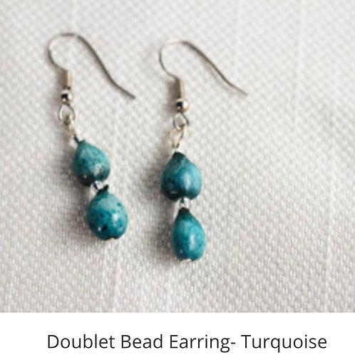 Doublet Bead Earrings -Turquoise
