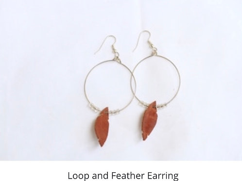Loop and Feather Earrings