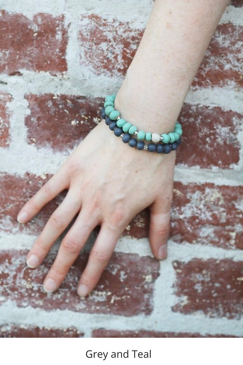 Slip on Stackable Bracelet Set - grey / teal
