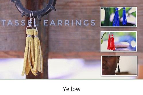 Leather Fringe Earrings - Yellow