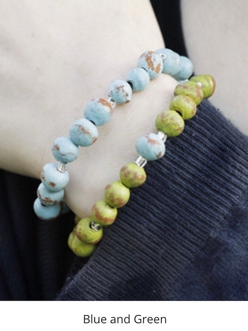 Slip on Stackable Bracelet Set - Blue / Green