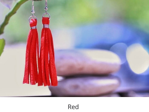 Leather Fringe Earrings - Red