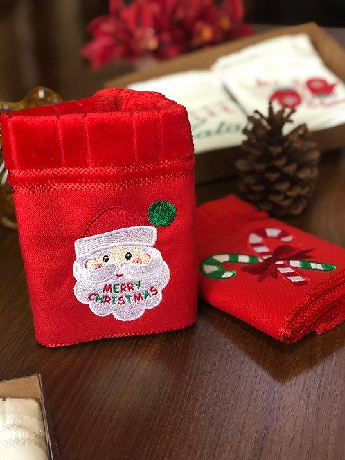 Toalha de Lavabo Papai Noel vermelha