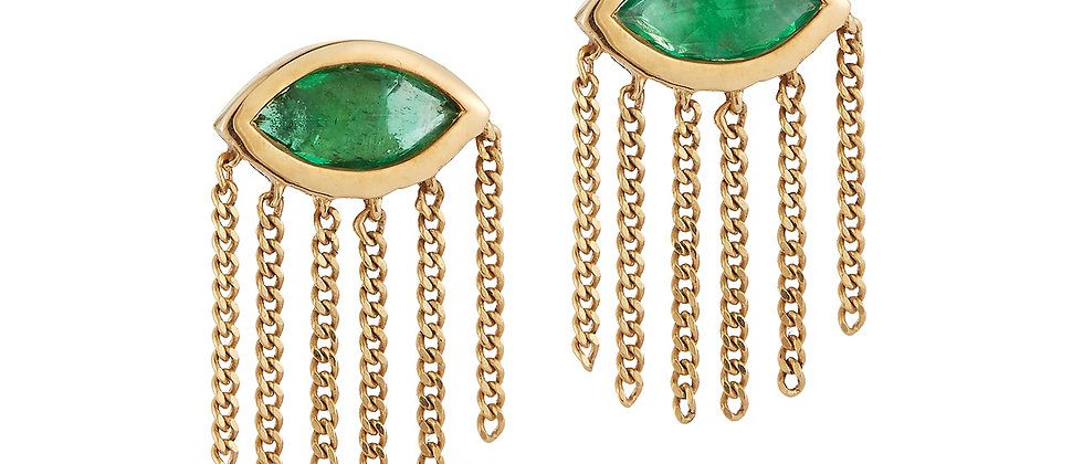 Heaven and Earth Marquis Emerald Earrings