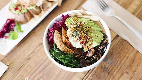 Vege-Power Bowl with egg, side of avocado toast