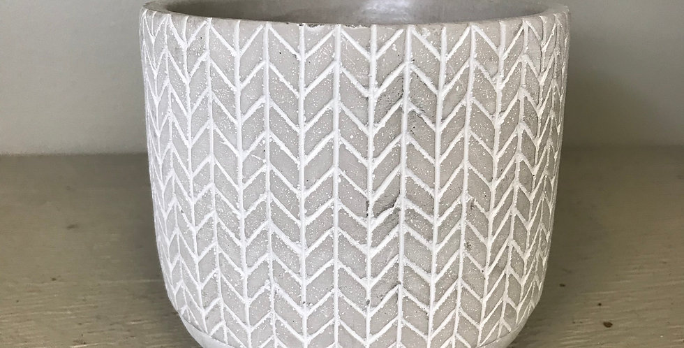 KNIT LOOK GREY CEMENT POT