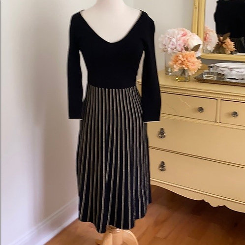Boden black and gold knit dress